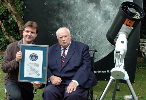 Nick Howes and Sir Patrick Moore with the Guinness World Records certificate